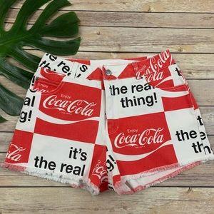 Coca-Cola red & white cutoff high rise jean shorts